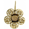 Filigree Earring Setting 36mm Flower Antique Brass
